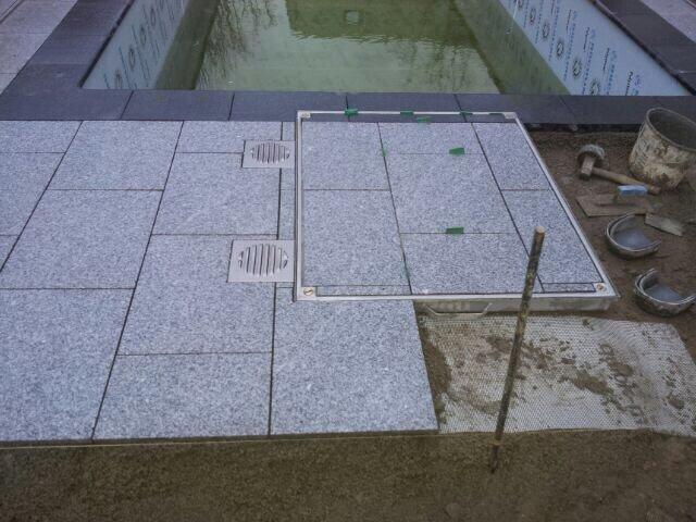 Aussenanlage m Naturstein Platten Granit Epoxidharz Bergholz-Rehbrücke